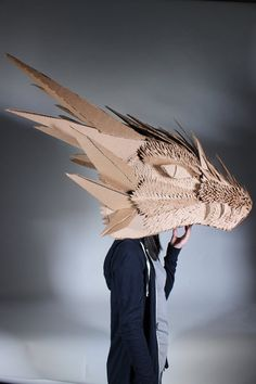 Cardboard Dragon Head by spiritualmist.dev… on Cardboard dragon head of spiritualmist. Cardboard Costume, Cardboard Mask, Cardboard Sculpture, Cardboard Paper, Cardboard Crafts, Sculpture Art, Paper Clay, Cardboard Animals, Dragon Costume
