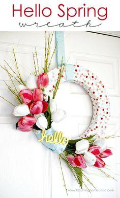 DIY Hello Spring Wreath - 25 Easy DIY Spring Wreath Ideas - DIY & Crafts