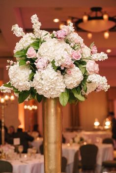 photo: SMS Photography; Gorgeous ballroom wedding centerpiece;
