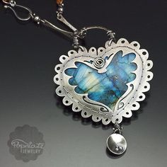 Reversible 2 in 1 Blue Labradorite Heart Argentium Sterling Silver Wings Wire Wrapped Pendant Necklace. It's like having two necklaces for the price of one.   OODLES OF DOODLES is a DOUBLE SIDED (reve