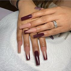 Burgundy Acrylic Nails, Colored Acrylic Nails, Fall Acrylic Nails, Purple Nails, Burgundy Nail Designs, Aycrlic Nails, Swag Nails, Grunge Nails, Gorgeous Nails