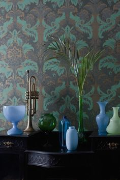 Rich Damask Wallpaper in a wonderful deep green coupled with a fresher green and gold. The motif is further embellished with a sage glittered relief providing a sensual element to this classic wallpaper. From Cole and Son Albemarle collection Damask Wallpaper, Green Wallpaper, Designer Wallpaper, Framed Wallpaper, Colorful Wallpaper, Classic Wallpaper, Modern Wallpaper, Wallpaper Ideas, Tapete Gold
