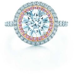 Tiffany Soleste Round Engagement ($91,000) ❤ liked on Polyvore featuring jewelry, rings, round ring, enhancer ring, band jewelry and band rings