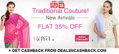 Flat 35% off on traditional wear at homeshop18 + get cashback from dealsncashback.com
