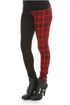 Royal Bones Black And Red Plaid Split Leg Skinny Jeans. Hot Topic - $34.50.
