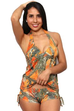 945851fd1a Women's Orange True Timber Tankini Top/Shorts Swimwear - SHORETRENDZ Camo  Swimwear, Tankini Top