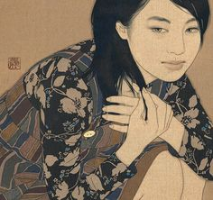 069 「たくらみ・恵美子」 80cm x20cm 2010 麻布・岩絵具・水干・膠・墨・金泥 Linen Canvas/Mineral pigments/ Gelatin glue/Soot ink/Pure gold