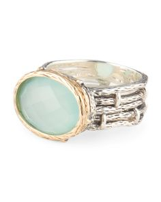 Sterling Silver And 14k Gold Mint Agate Ring