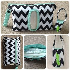 Handy diapers and wipes clutch with matching diaper bag dispenser set