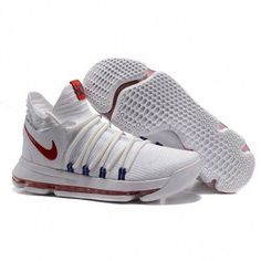 save off e46e7 a3477 Nike kevin durant kd 10 basketball shoes white blue red   adidasbasketballshoes Usc Basketball, Indoor