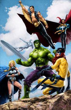 Defenders by Moose Baumann (Marvel comics) Marvel Universe, Marvel E Dc, Marvel Comics Art, Marvel Comic Books, Comic Book Characters, Comic Book Heroes, Marvel Characters, Marvel Heroes, Comic Character