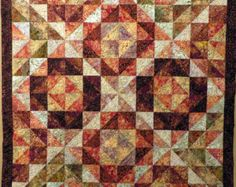 Geometric Batik Quilt tablecloth lap quilt couch throw wall hanging browns creams rust
