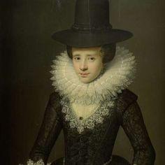Portret van Anna Boudaen Courten (1599-1622), toegeschreven aan Salomon Mesdach, 1619 - Dames-Collected Works of Marjolein Moonen - All Rijk...