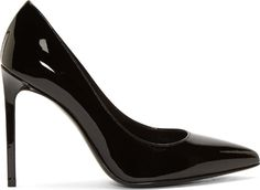 "Patent leather pumps in black. Pointed toe. Tonal stitching. Approx. 4"" stiletto heel."