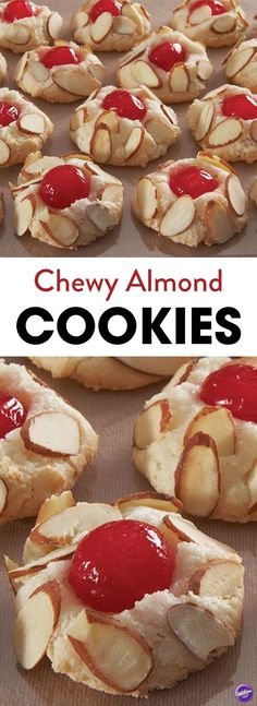 These soft and chewy almond cookies are so easy to make and are perfect to serve at any party or for afternoon snacks. Press a cherry half in the middle for a more delightful taste! MAKE INTO A ROLL. Almond Paste Cookies, Almond Meal Cookies, Yummy Cookies, Yummy Treats, Egg White Cookies, Cookie Desserts, Just Desserts, Cookie Recipes, Delicious Desserts
