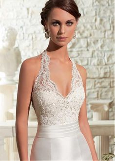 Glamorous Tulle & Satin Halter Neckline Natural Waistline Mermaid Wedding Dress With Beaded Lace Appliques