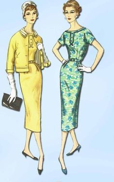 1950s Vintage Simplicity Sewing Pattern 2372 Uncut Misses Dress and Jacket Sz 14 Vintage Dress Patterns, Vintage 1950s Dresses, Retro Outfits, Vintage Outfits, Vintage Fashion, 1950s Fashion, Patron Vintage, Moda Vintage, Miss Dress