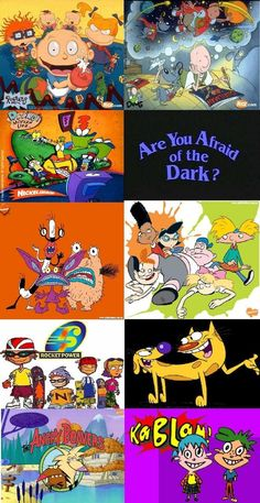 "O my gosh.this is just about every show I watched as a kid! I'd still watch them today if they still came on! All I really remember about ""Are You Afraid of the Dark"" is the creepy clown doll in the opening credits! Cartoon Shows, Cartoon Pics, Cartoon Characters, Nickelodeon Cartoons, 90s Kids Cartoons, 90s Childhood, Childhood Memories, Disney Viejo, Rocko's Modern Life"