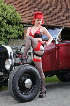 Jeanie Wishes wears our Valerie Lingerie and Retro Contrast Seamed Stockings. Picture by Tony Nylons. www.whatkatiedid.com