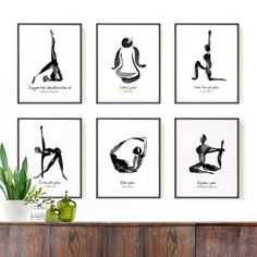 Yoga wall art • Yoga print set • Yoga poster • Yoga room decor This Set of Six 8x10 prints of black ink yoga art will make a zen collection for your