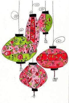 Chinese lantarns Love the sharp fresh crispness of this lovely work