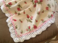 Fleece Nursery Blanket with Roses, Crocheted Blanket, Baby Blanket, Crib Bedding, by Lorettescottage on Etsy