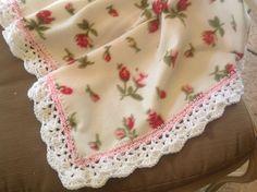 Fleece Nursery Blanket with Roses, Crocheted Blanket, Baby Blanket, Crib Bedding, by Lorettescottage on Etsy