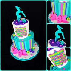 Thus was for a client whose daughter wanted a gymnastics cake with lime, teal, purple, and pink.