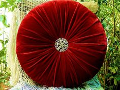 Red Rose Silk Velvet Round Pillow 16 by originalboutique on Etsy, $34.00