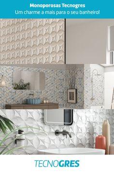 Transforme seu banheiro com pisos 3D, escolha Tecnogres! #banheiro #espelho #bathroom #armario #piadebanheiro #decoracaodebanheiro #decoracao #inspiracao #piso pisocomrelevo #3d #piso3d #relevo #ceramica #monoporosa #tecnogres #grupofragnani 3d, Bathroom Sinks, Restroom Decoration, Mirror, Flats