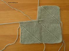 """Résultat de recherche d'images pour """"tricoter un carre en diagonale"""""""