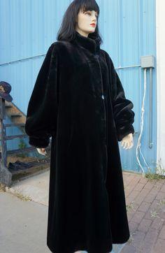 Vintage Sheared Mink Fur Coat // Mid Century Faux Fur Opera Coat / 40 Plush Black Swing Style Raincoat /Edwardian Black Mink Fur Swing Coat by HippieGypsyBoutique on Etsy