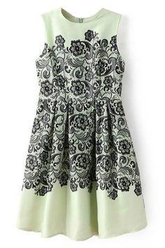 花柄プリーツ緑のドレス