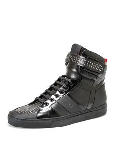 Hugo Fulten Studded Leather High Top Sneakers