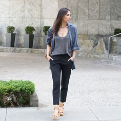 Get this look: http://lb.nu/look/8165263  More looks by Tienlyn .: http://lb.nu/tienlyn  Items in this look:  Everlane Trousers, Sofia Jacket, Nubuck Sandals   #casual #chic #minimal