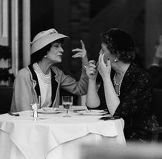 Coco Chanel at the Ritz Paris with Jessica Daves, editor in chief of Vogue    1957