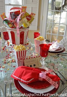 Children's Movie Night Themed Table Setting with Popcorn Candy Centerpiece