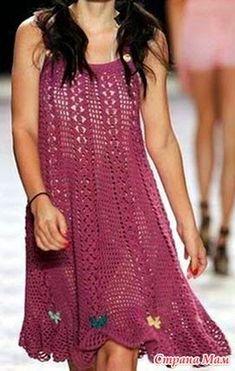 Patrones vestido de mujer con ganchillo