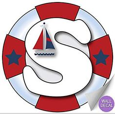 Wall Letters s Nautical Ocean Sailing Custom Letter Children's Nursery Baby's Room Baby Name Boys Bedroom Decor Alphabet Initial Vinyl Stickers Decals Kids Decorations Decal Boat Whale Anchor Girls Baby Wall Stickers, Kids Stickers, Wall Stickers Murals, Wall Decals, Sticker Vinyl, Nautical Letters, Sailor Baby Showers, Letter Wall Decor, Nursery Decals