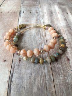 Amazonite Gemstone Beaded Bracelet Set Peach Crystal Wire Bracelet Set Amazonite Expandable Bracelet Set Wire Stacking Bracelet Set (MBX209) by JulemiJewelry on Etsy