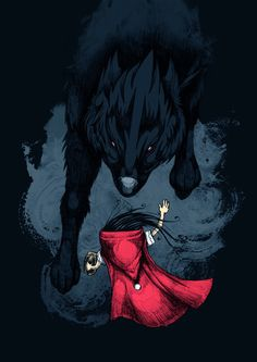 Big Bad Wolf by Steven Toang /little red riding hood - cappuccetto rosso Little Red Ridding Hood, Red Riding Hood, Illustrations, Illustration Art, Wolf Poster, Art Manga, Big Bad Wolf, Wolf Girl, Arte Horror