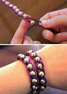 leuke armband om zelf te maken, (met kralen en dan vlechten)