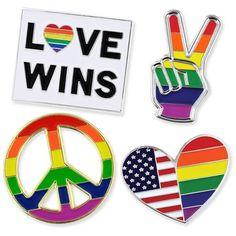 PinMart's Gay Pride Rainbow Flag Love Wins LGBT Enamel Lapel Pin Set ($13) ❤ liked on Polyvore featuring jewelry, brooches, enamel jewelry, pin jewelry, enamel brooches, pin brooch and rainbow jewelry
