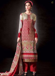 BEAUTIFUL RED AND BEIGE UNSTITCHED SALWAR SUIT  CODE:-8042 PRICE:-2549/-