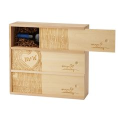 Personalized wedding wine box lets you share your favorite wines with the happy couple to enjoy in 1, 3, and 5 years.