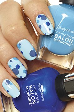Bubbly your mani Sally Hansen Complete Salon Manicure in Blue My Mind, Watercolor & Barracuda.