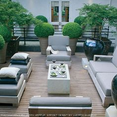 LOVE THE SPERE SHAPED bush/ in the pots-very architectural Modern garden decking by Luciano Giubbilei