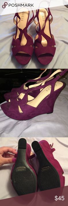 GUESS Wedges - Maroon Only worn once! *NO TRADES* Guess Shoes Wedges