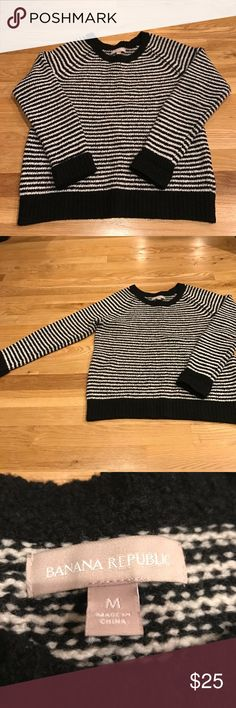 Banana Republic Sweater Size Medium black and white striped sweater. It is 80% wool and has been worn but is in great condition! Banana Republic Sweaters Crew & Scoop Necks