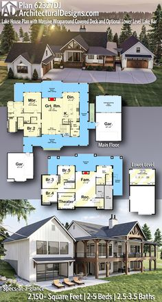 Lake House Plans, New House Plans, House Floor Plans, Alternate Exterior, Fireplace Built Ins, House Deck, Farmhouse Plans, Modern Farmhouse, Covered Decks